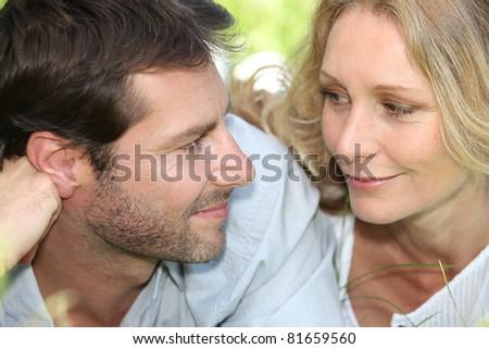 Closeup of loving couple - stock photo