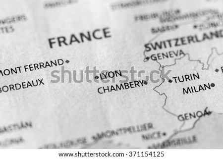Closeup of Lyon, France on a political map of Europe. - stock photo