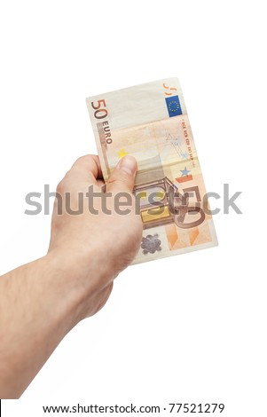 Closeup of male hand holding fifty euro banknote isolated on white with selective focus