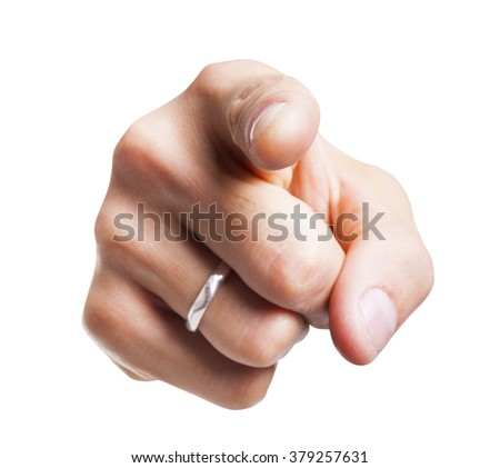 Closeup of male hand pointing at you, isolated on white background