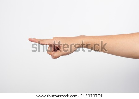 Closeup of male hand pointing. Isolated on white background - stock photo