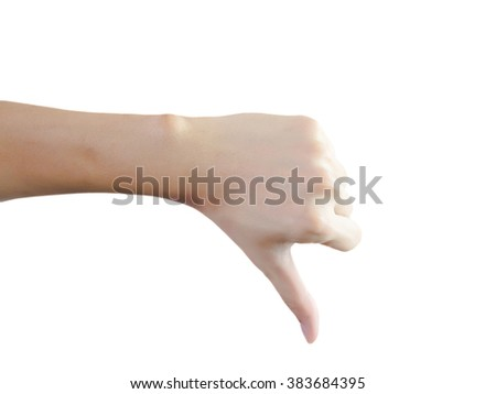 Closeup of male hand showing thumbs down sign on isolated white background with clipping path
