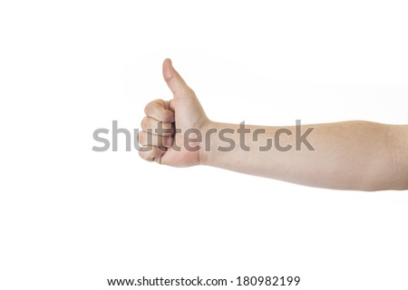 Closeup of male hand showing thumbs up sign against white - stock photo