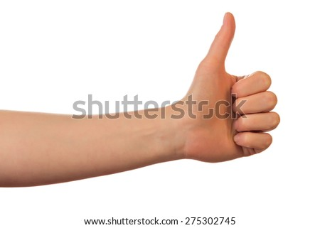 Closeup of male hand showing thumbs up sign against white background - stock photo