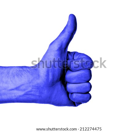 Closeup of male hand showing thumbs up sign against white background, blue skin - stock photo