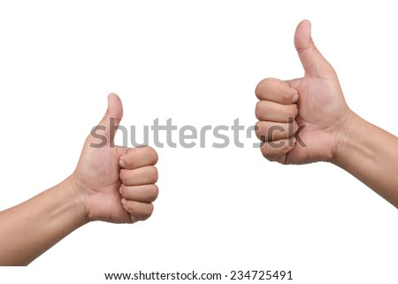 Closeup of male hands showing thumbs up isolate on white clipping path