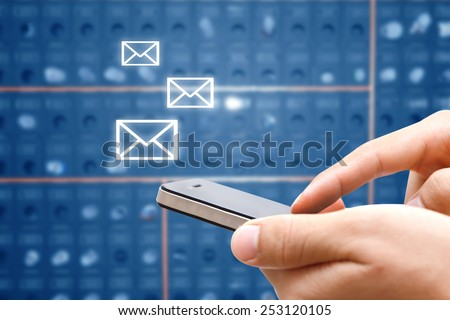 closeup of man hand with smart phone show social network,network and communication concept  - stock photo