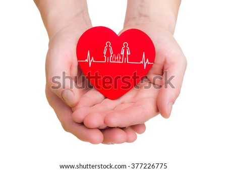 closeup of man hands holding red heart with ecg line isolated - stock photo