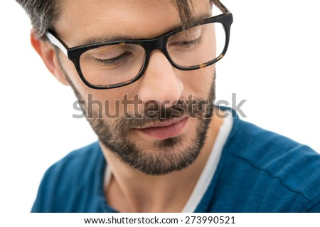 Closeup of man wearing spectacle isolated on white background