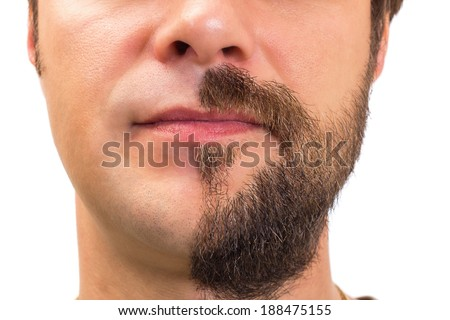 Closeup of man with  beard on half of the face on white background - stock photo