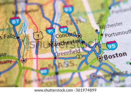 Closeup of Manchester on a geographical map. - stock photo
