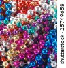 closeup of Mardi Gras necklaces - stock photo