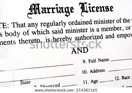 Closeup of Marriage License document form to be filled out and filed - stock photo