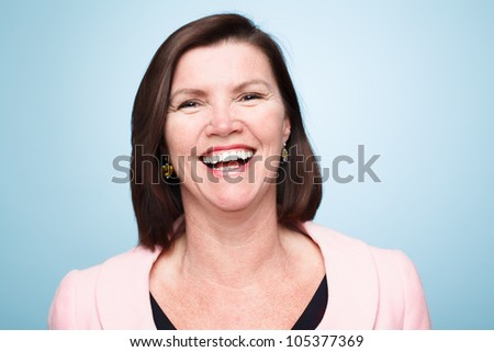 closeup of mature woman smiling