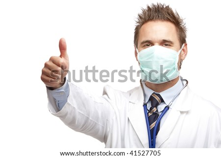 Closeup of medical doctor showing thumb up and express happiness. Isolated on white. - stock photo