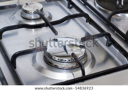 Closeup of metal gas stove without fire