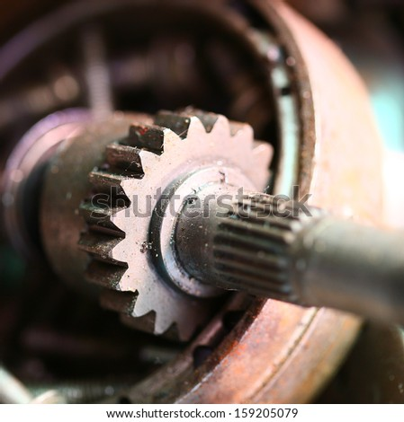Closeup of metal  gears - stock photo