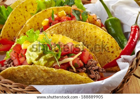 Closeup of Mexican food Tacos - stock photo
