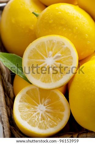 Closeup of Meyer Lemons Freshly Picked Off Tree, a Variety Crossed Between a Mandarin or an Orange and a Regular Lemon, Making for a Sweeter Lemon - stock photo