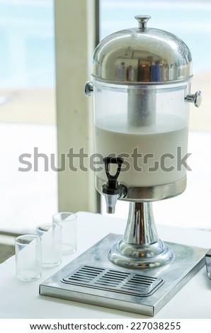Closeup of milk cooler tank. - stock photo