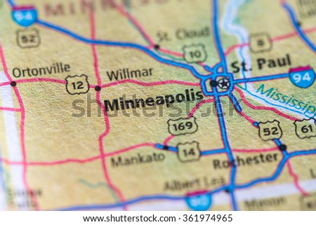 Closeup of Minneapolis on a geographical map. - stock photo