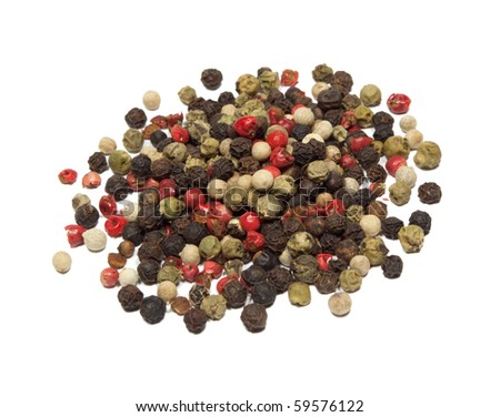 Closeup of mixed pepper isolated on white background. - stock photo