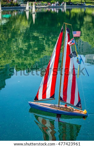 Closeup of Model Sailboat on the Conservatory Water in Central Park