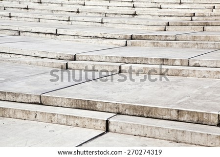 Closeup of modern concrete stairs - stock photo