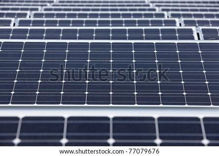 closeup of modern solar panels - stock photo