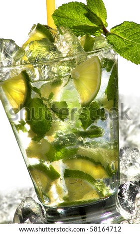 closeup of mojito cocktail on white background with ice - stock photo