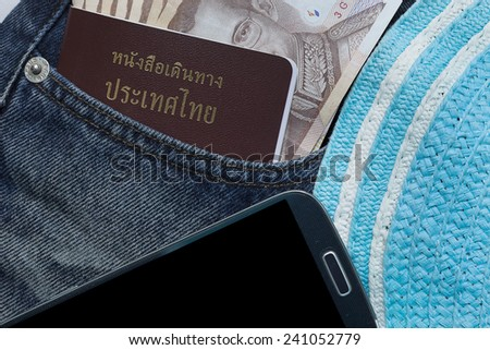 Closeup of money  and passport in jeans in blue denim jeans pocket