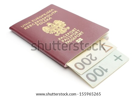 Closeup of money and red, polish passport isolated on white background - stock photo