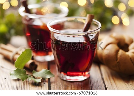 closeup of mulled wine, focus on the anise star, shallow dof - stock photo