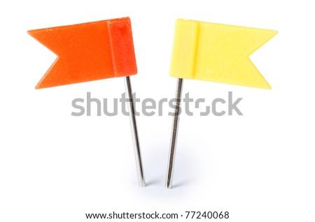 Closeup of multi-colored paper clips - stock photo