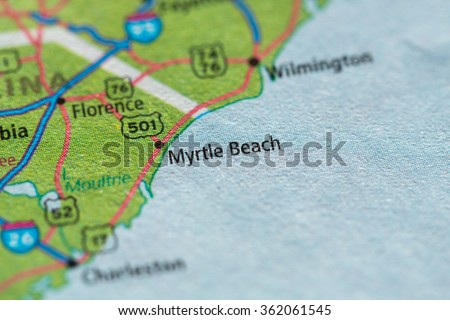 Closeup of Myrtle Beach on a geographical map. - stock photo