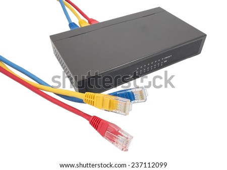 Closeup of network cables and router on white - stock photo