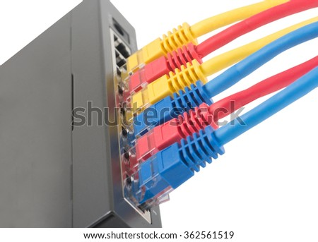 Closeup of network cables connected to router on white - stock photo
