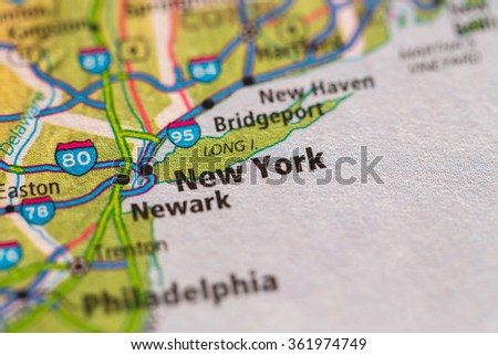 Closeup of New York City on a geographical map. - stock photo