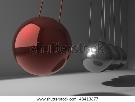 closeup of newton pendulum - stock photo