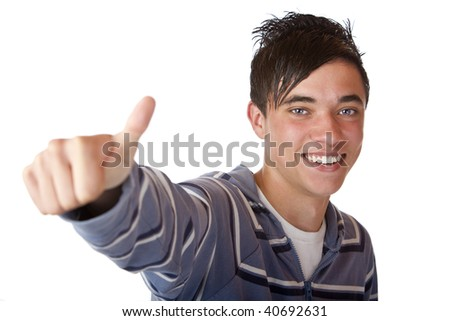 Closeup of nice and  charming student expressing  happiness by showing thumb up. Isolated on white.