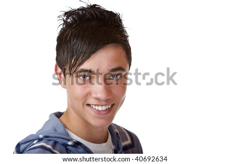 Closeup of nice and  charming student with beautiful eyes, smiles into camera. Isolated on white. - stock photo