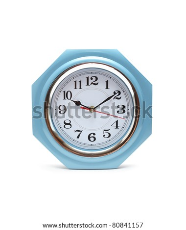 Closeup of nice modern clock isolated on white background with clipping path
