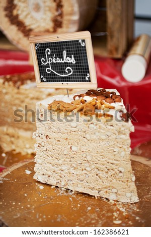 Closeup of nougat with typical belgian speculoos - stock photo