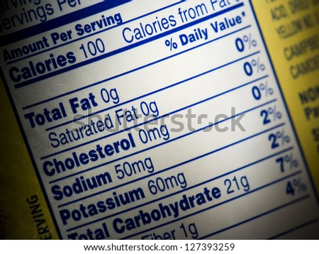 Closeup of nutrition label on food box - stock photo