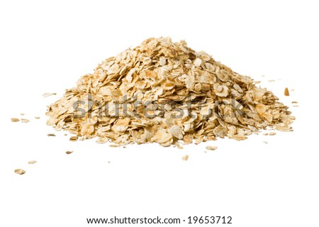 Closeup of oatmeal isolated on white - stock photo