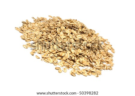 Closeup of oatmeal isolated on white background. - stock photo
