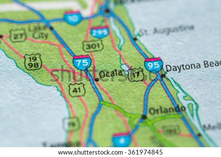 Closeup of Ocala on a geographical map. - stock photo