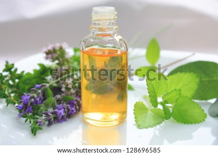 Closeup of oil bottle with fresh green herbs and aromatic flowers. Alternative medicine concept - stock photo