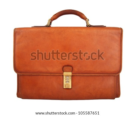 Closeup of old brown briefcase isolated on white background - stock photo