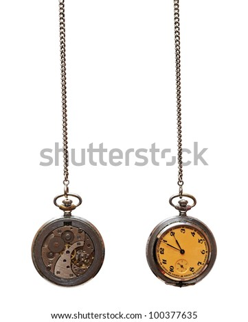 Closeup of old pocket watch isolated on white background - stock photo